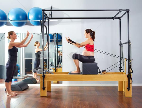 Foto stock: Mujer · embarazada · pilates · corto · cuadro · ejercicio · entrenamiento