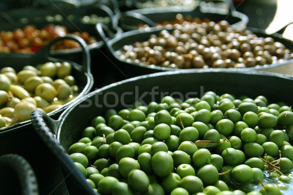 olives in pickling brine background texture Stock photo © lunamarina