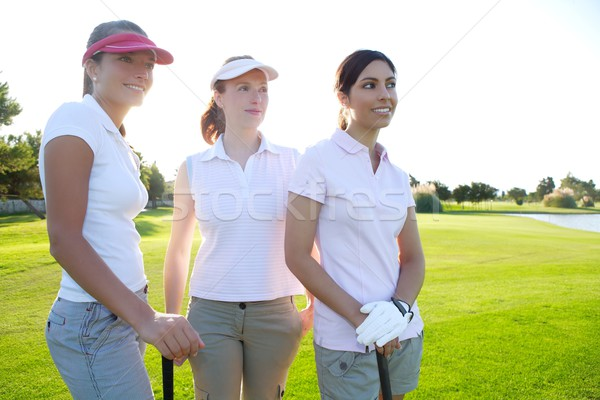 Golf tres mujer hierba verde naturaleza Foto stock © lunamarina