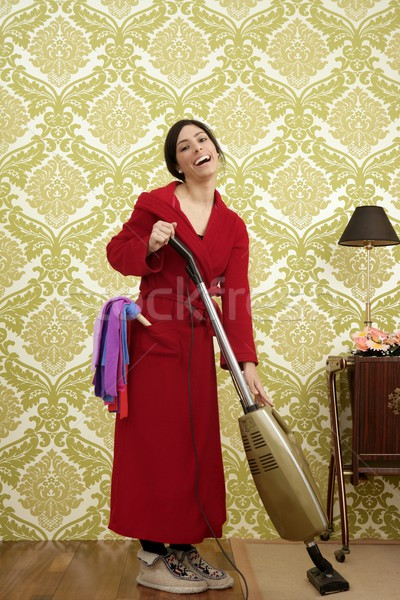 Bathrobe retro housewife woman vacuum cleaner Stock photo © lunamarina