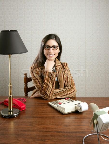 Foto d'archivio: Ragioniere · segretario · retro · donna · vintage · ufficio
