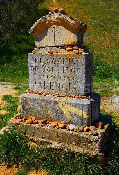 The way of saint James stone sign Palencia Stock photo © lunamarina