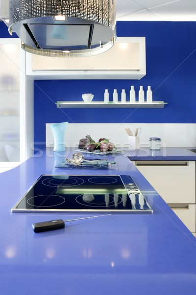 Blue white kitchen modern interior design house Stock photo © lunamarina