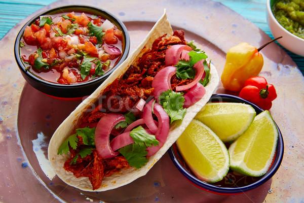 Comida mexicana limón chile madera azul rojo Foto stock © lunamarina