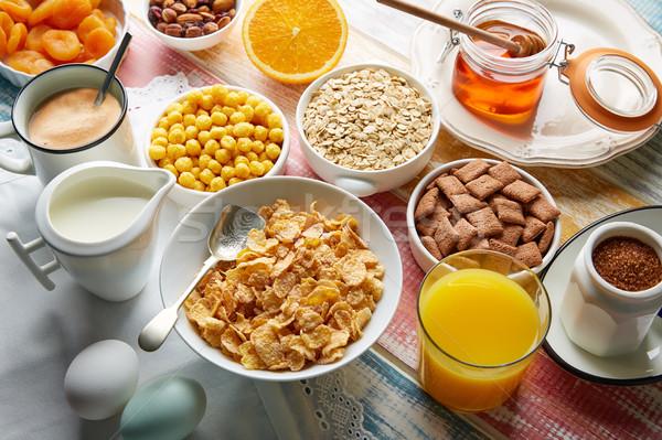 Breakfast healthy cereal coffee and orange juice Stock photo © lunamarina