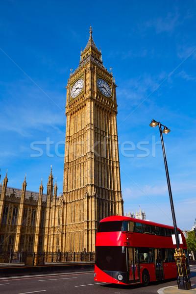 Big Ben Clock Tower and London Bus Stock photo © lunamarina