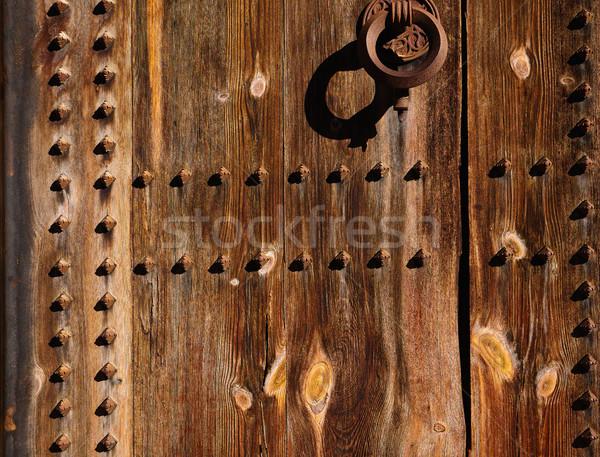 Oude houten deur Valencia stedelijke kasteel Stockfoto © lunamarina