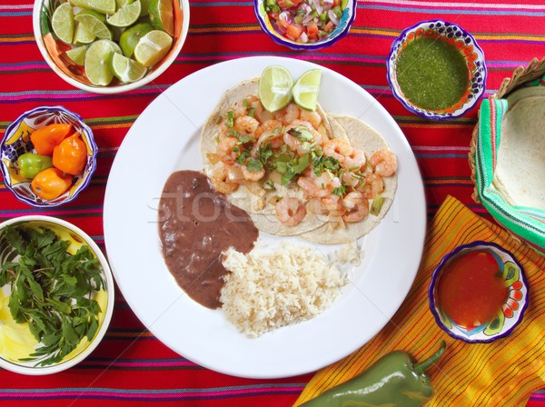 Stock photo: shrimp tacos rice and frijoles chili sauces Mexican