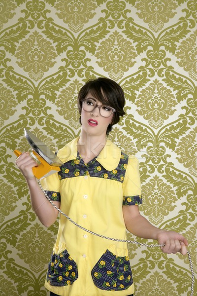 housewife nerd retro unhappy iron chores Stock photo © lunamarina