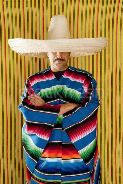 Stock fotó: Mexikói · férfi · tipikus · szombréró · portré · emberek