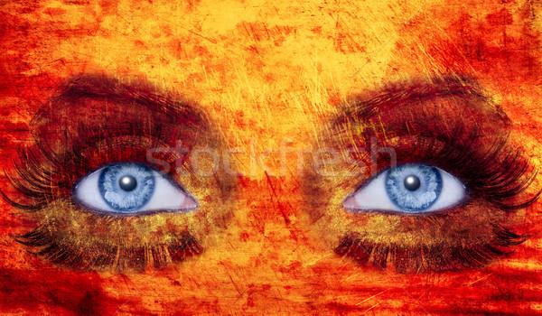Resumen ojos azules maquillaje mujer textura rojo Foto stock © lunamarina