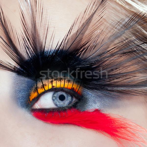 黒 鳥 女性 アイメイク マクロ ヤシの木 ストックフォト © lunamarina