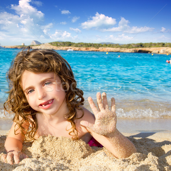 Meisje groet zandstrand water zomer Stockfoto © lunamarina