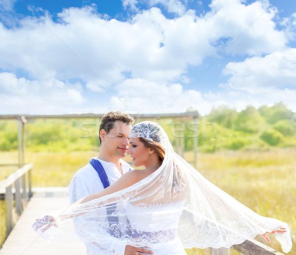 Coppia wedding giorno vento velo outdoor Foto d'archivio © lunamarina