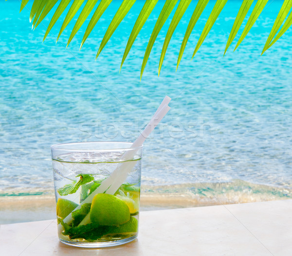 Mojito cocktail with peppermint leaves and lemon Stock photo © lunamarina