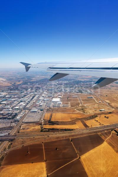 Repülőgép felszállás Madrid Spanyolország arany búza Stock fotó © lunamarina