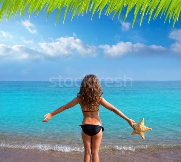 Blauw strand meisje bikini zeester Stockfoto © lunamarina