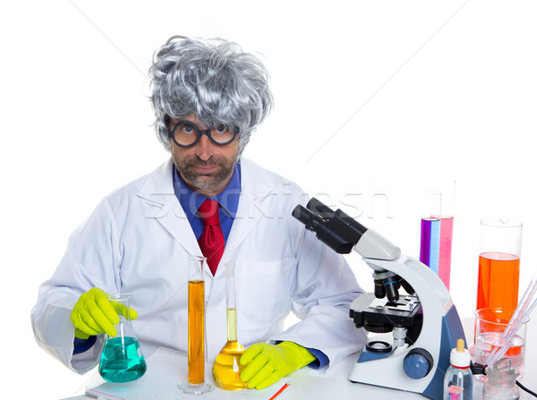 Stock photo: Nerd crazy scientist man portrait working at laboratory