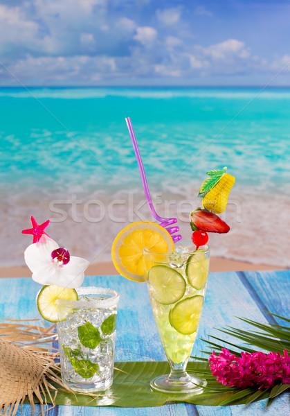 Mojito citrom citrus koktélok trópusi kék Stock fotó © lunamarina