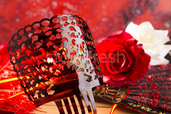 Flamenco comb fan and roses typical from Spain Espana Stock photo © lunamarina