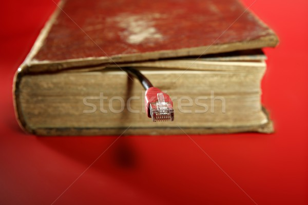 Network RJ45 cable connection coming from old book Stock photo © lunamarina