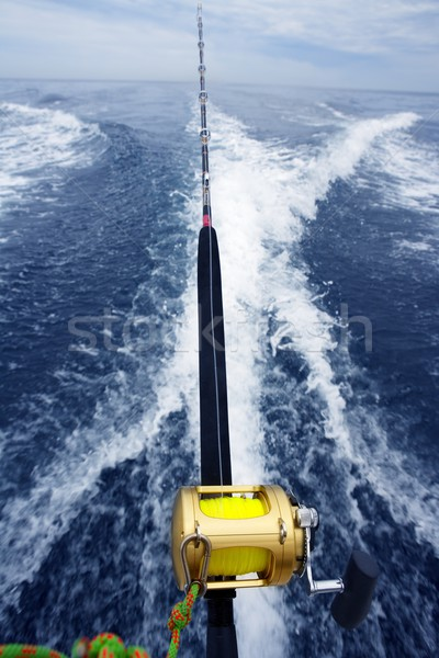 fishing big game rod and reel on boat wake Stock photo © lunamarina