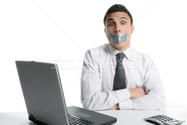 Stock fotó: Csend · szalag · száj · üzletember · iroda · számítógép