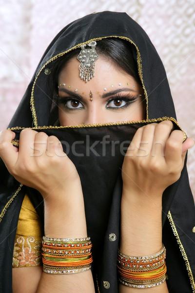 美しい ブルネット アジア 少女 黒 ベール ストックフォト © lunamarina