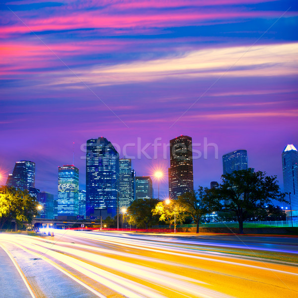 Houston Texas skyline at sunset with traffic lights Stock photo © lunamarina