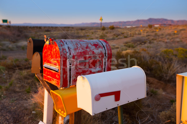 Grunge mail boxes in a row at Arizona desert Stock photo © lunamarina