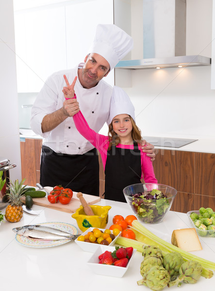 Junior chef beautiful girl and master teacher award winner  Stock photo © lunamarina