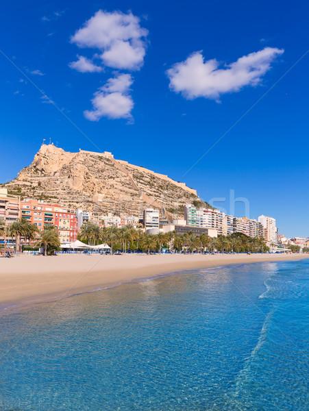 Alicante Postiguet beach and castle Santa Barbara in Spain Stock photo © lunamarina