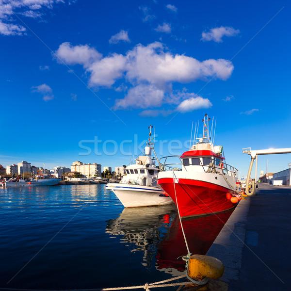 Stockfoto: Haven · Valencia · middellandse · zee · Spanje · zonsondergang · strand