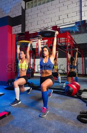 Hex Dead Lift Shrug Bar Deadlifts woman at gym Stock photo © lunamarina