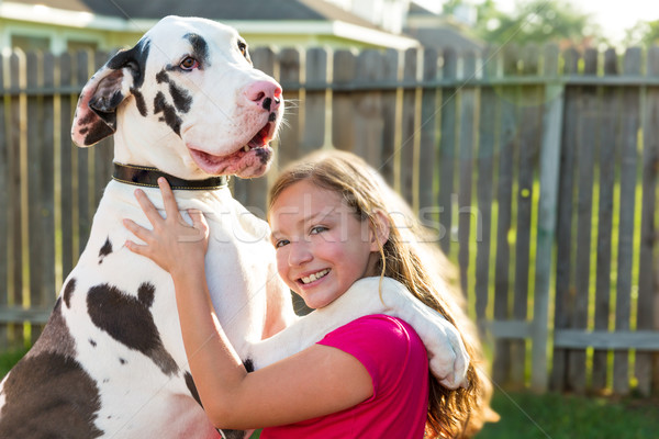 great dane stand up on kid girl shoulders playing Stock photo © lunamarina