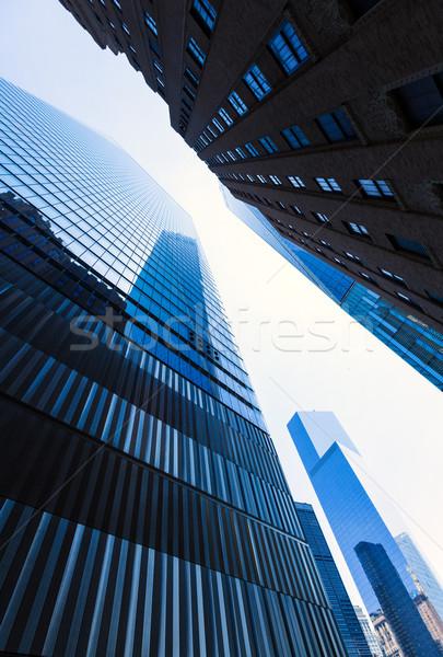 Freedom Tower Manhattan felhőkarcolók New York alulról fotózva kilátás Stock fotó © lunamarina