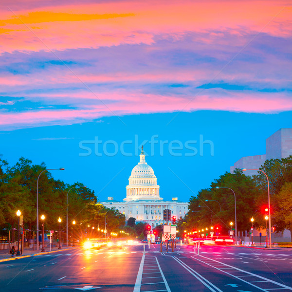Coucher du soleil Pennsylvanie Washington DC congrès USA route Photo stock © lunamarina