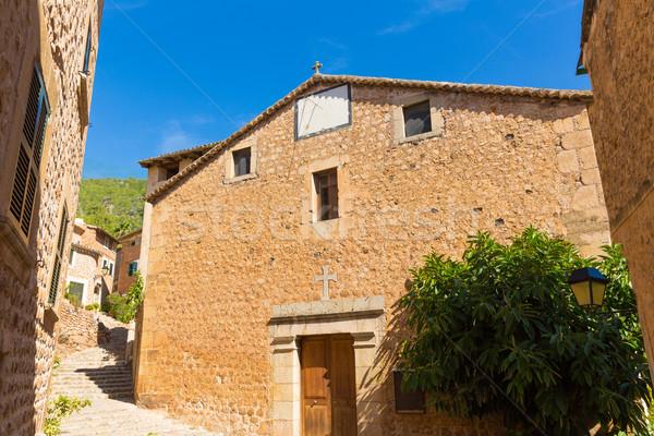 Fornalutx village church in Majorca Balearic island Stock photo © lunamarina
