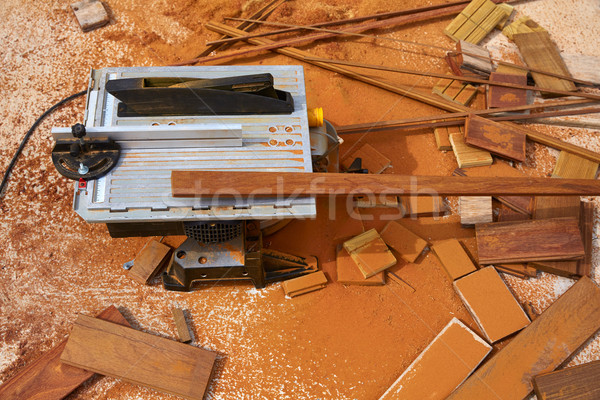 Circular table saw carpenter tool and sawdust Stock photo © lunamarina