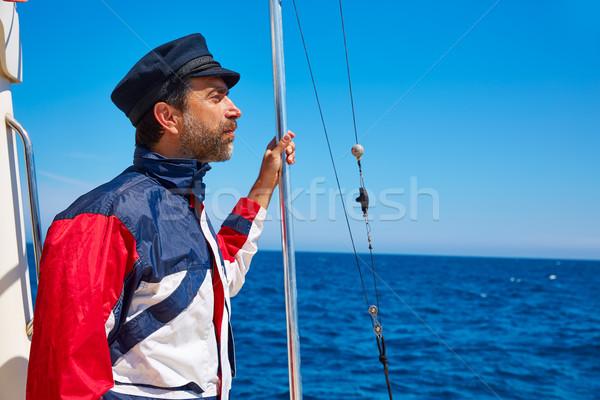 Bart Seemann Mann Segeln Meer Boot Stock foto © lunamarina