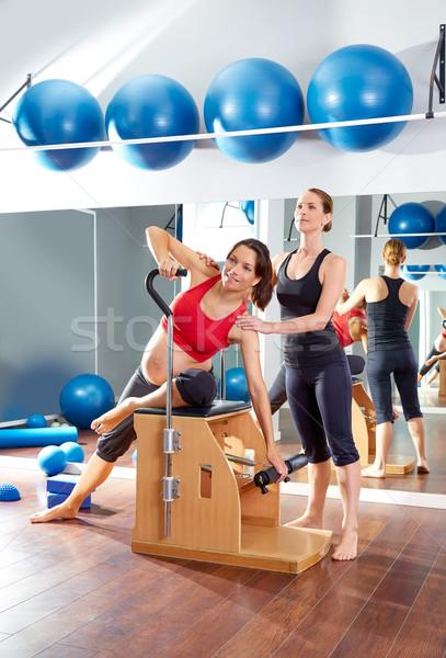 Hamile kadın pilates egzersiz antreman spor salonu personal trainer Stok fotoğraf © lunamarina