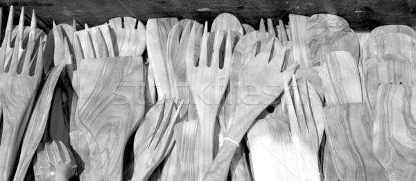 çatal bıçak takımı ahşap İspanyolca geleneksel mutfak gereçleri Stok fotoğraf © lunamarina
