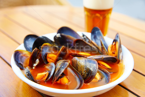 Valencia clochinas steamed mussels typical food Stock photo © lunamarina
