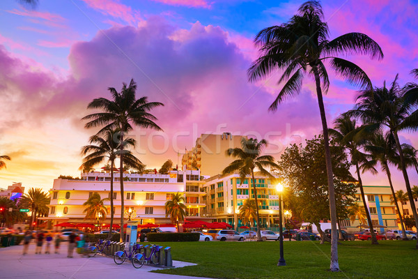 Miami South Beach sunset Ocean Drive Florida Stock photo © lunamarina