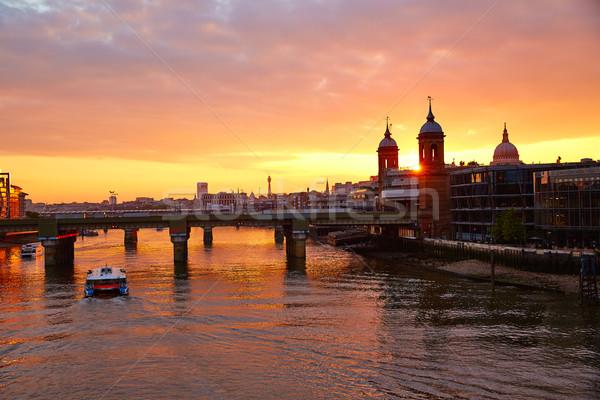 London naplemente Temze katedrális Anglia város Stock fotó © lunamarina