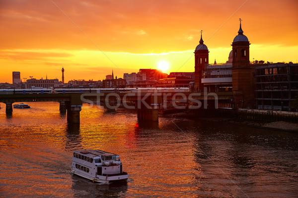 Londres coucher du soleil thames cathédrale Angleterre ville Photo stock © lunamarina