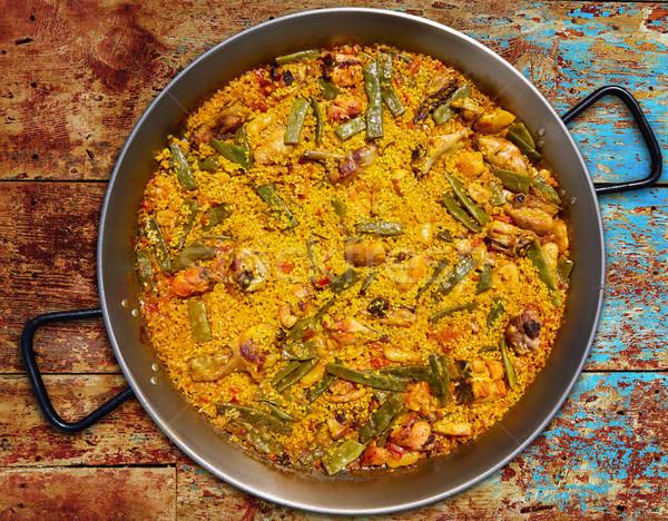 Spanyolország rizs recept Valencia tyúk nyúl Stock fotó © lunamarina