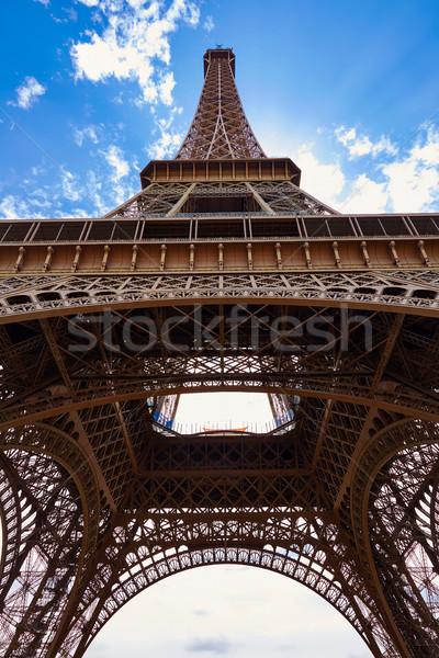 Eiffeltoren Parijs Frankrijk hemel stad Blauw Stockfoto © lunamarina