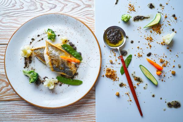 Seabass sea bass with stir fried vegetables Stock photo © lunamarina