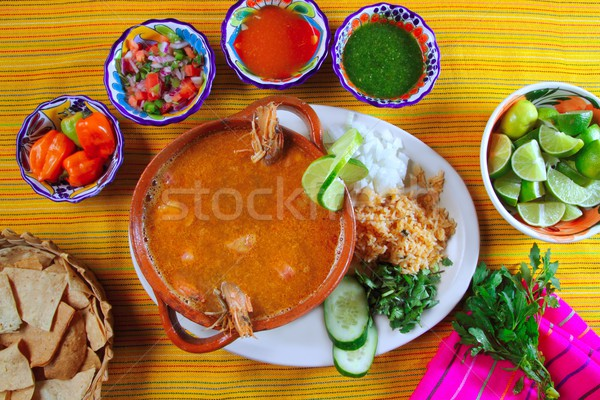 Camarão frutos do mar sopa mexicano pimenta nachos Foto stock © lunamarina
